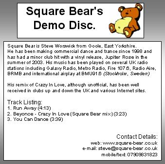 The demo disc I gave out. Fingers crossed!